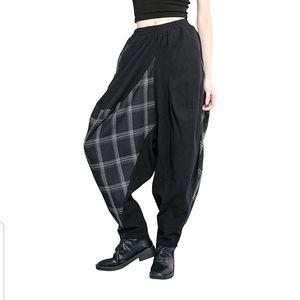 Pants - Plaid & Black Color Block High Waist Harem Pants